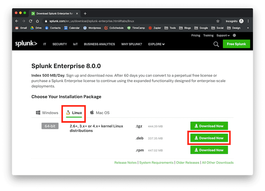 download button to install splunk on ubuntu